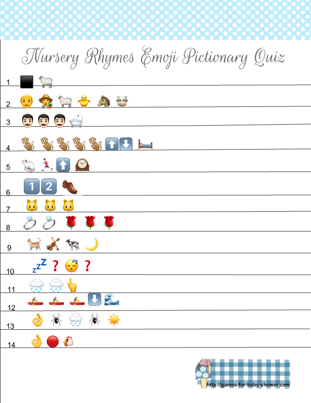 Free Printable Nursery Rhymes Emoji Pictionary Quiz