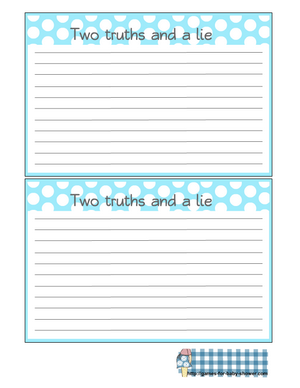 Free Printable Two Truths and a Lie Game for Baby Shower
