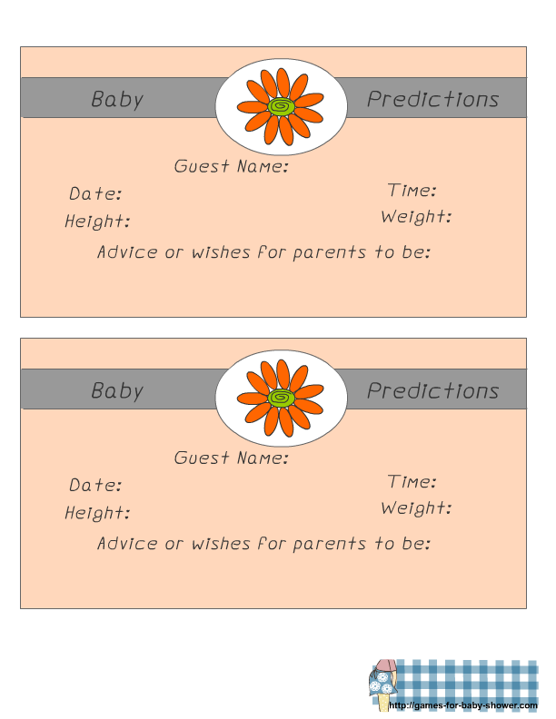 Free Printable Baby Predictions Game For Baby Shower